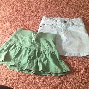 Other - Girls size 5 green skort and light blue Jean skirt
